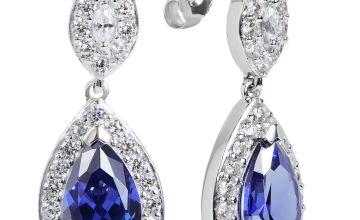 Revere Sterling Silver Cubic Zirconia Pear Halo Earrings