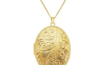 Moon & Back 9ct Gold Plated Oval Locket  Pendant Necklace
