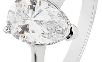 Revere Platinum Plated Silver 2 Carat Pear Ring