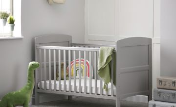 Obaby Grace Baby Cot Bed with Mattress - Warm Grey