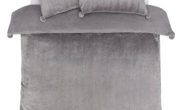 Argos Home Glitter Pom Pom Fleece Bedding Set