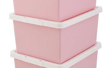 Argos Home Set of 3 Storage Boxes - Pink