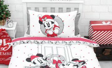 Disney Mickey and Minnie Christmas Bedding Set - Single