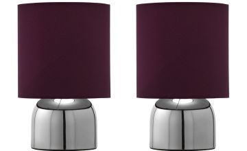 Argos Home Pair of Touch Lamps - Plum and Chrome