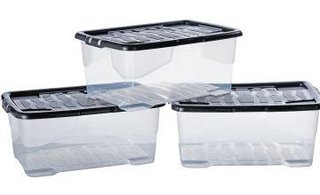 Argos Home Curve 42 Litre Lidded Plastic Boxes - Set of 3