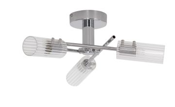 Argos Home Wallis 3 Light Ceiling Light - Clear and Chrome