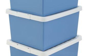 Argos Home Set of 3 Storage Boxes - Blue