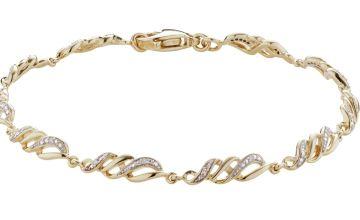 Revere 9ct Gold Plated 0.02ct tw Diamond Swirl Bracelet