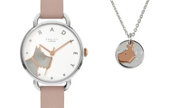Radley Pale Pink Leather Strap Watch and Coin Necklace Set