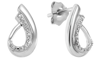 Revere 9ct White Gold 0.02ct tw Diamond Tear Drop Earrings