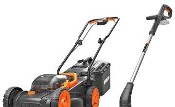 WORX WG927E Cordless 34cm Mower & Trimmer Kit - 2 Batteries