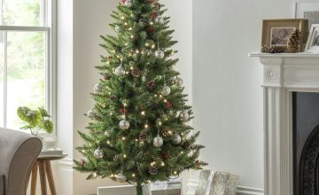 Argos Home 6ft Berry & Cone Pre-Lit Christmas Tree - Green