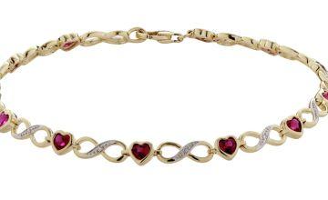 Revere 9ct Gold Created Ruby & 0.018cttw Diamond Bracelet