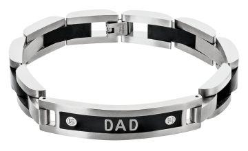 Revere Men's Stainless Steel Two Tone CZ Dad Bracelet