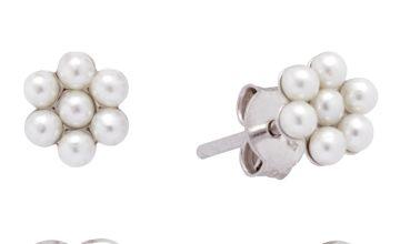 Revere Sterling Silver Kids Pearl Flower Heart Stud Earrings