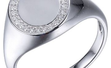 Revere Men's Sterling Silver Cubic Zirconia Signet Ring