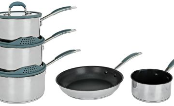 Argos Home 5 Piece Stainless Steel with Silicone Rim Pan Set