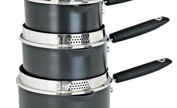 Argos Home 3 Piece Aluminium Pan Set - Black