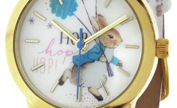 Beatrix Potter Peter Rabbit White Faux Leather Strap Watch
