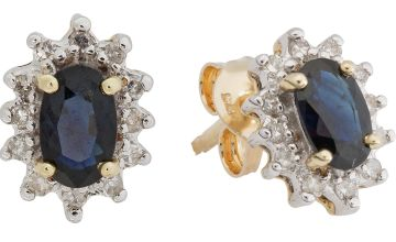 Revere 9ct Yellow Gold Sapphire & Diamond Halo Stud Earrings