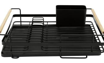 Argos Home Wire Dishdrainer - Wood and Black