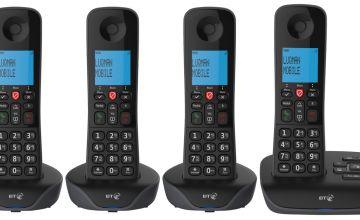 BT Essential Cordless Telephones & Answering Machine - Quad