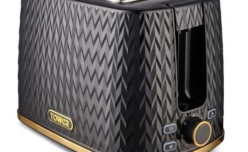 Tower T20054BLK Empire Textured 2 Slice Toaster - Black