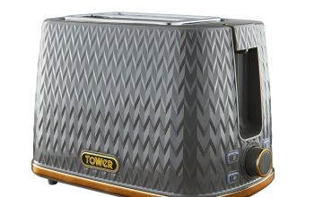 Tower T20054GRY Empire Textured 2 Slice Toaster - Grey