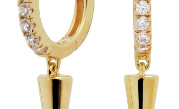 Revere 9ct Gold Plated Plain Spike Drop Huggie Earrings