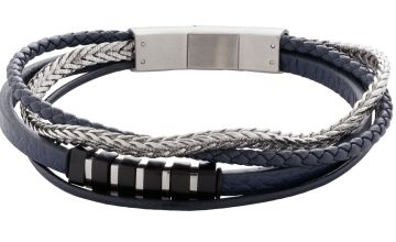 Revere Men's Stainless Steel Four Strand Leather Bracelet