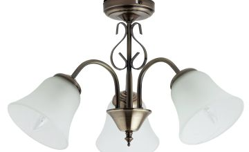Argos Home Elisa 3 Light Glass Ceiling Light - Antique Brass