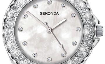 Sekonda Ladies White Stone Set Silicone Strap Watch