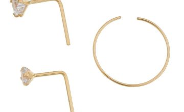 State of Mine 9ct Yellow Gold CZ Nose Stud & Hoop - Set of 3