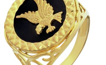Revere Men's 9ct Gold Plated Agate Eagle Ring