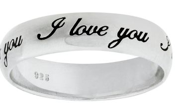 Revere Sterling Silver I Love You Message Band Ring
