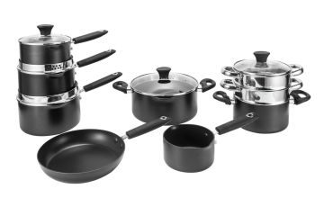 Argos Home 9 Piece Aluminium Pan Set - Black