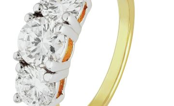 Revere 9ct Gold Plated Sterling Silver 3 Stone Ring