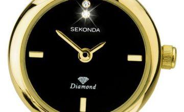 Sekonda Ladies Diamond Set Gold Plated Bangle Bracelet Watch