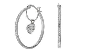 Revere Sterling Silver Crystal Heart Hoop Earrings
