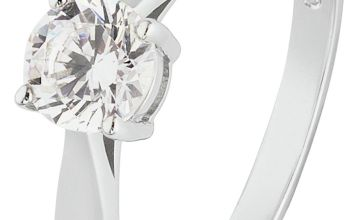 Revere 9ct White Gold 5 Carat Look Cubic Zirconia Ring
