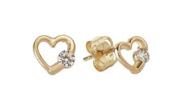 Revere Kid's 9ct Yellow Gold CZ Heart Stud Earrings