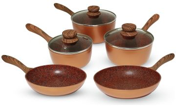JML Copper Stone Pan 5 Piece Pan Set