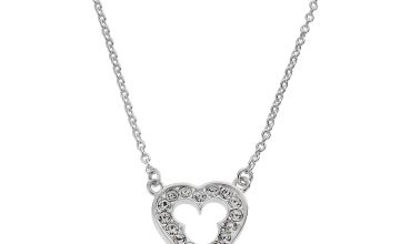 Disney Mickey Mouse Sterling Silver Crystal Heart Necklace