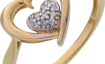 Revere 9ct Gold Plated 0.05ct tw Diamond Heart Ring