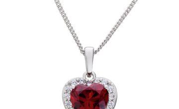 Revere Sterling Silver Ruby Colour Heart Pendant