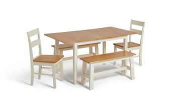 Argos Home Chicago Extending Table, 2 Benches & 2 Chairs