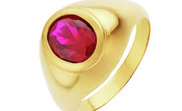 Revere Men's 9ct Gold Plated Red Cubic Zirconia Ring