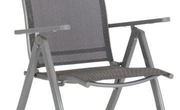 Argos Home Malibu Metal Set of 2 Folding Chairs - Grey