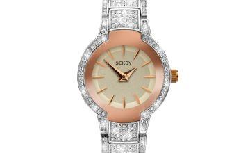 Seksy by Sekonda Ladies Stainless Steel Crystal Strap Watch