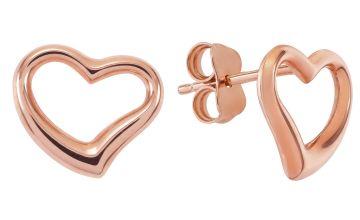 Revere 9ct Rose Gold Open Heart Stud Earrings